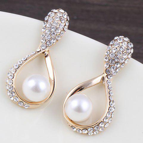 Pair of Stylish Rhinestoned Faux Pearl Water Drop Earrings For Women pair of stylish rhinestoned round drop earrings for women