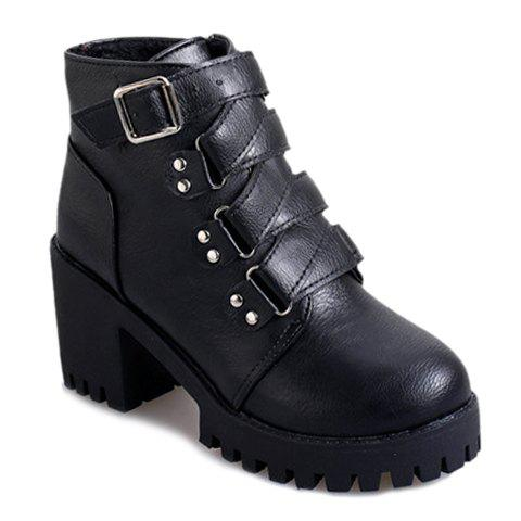 Stylish Chunky Heel and Zig-Zag Design Short Boots For Women - BLACK 35