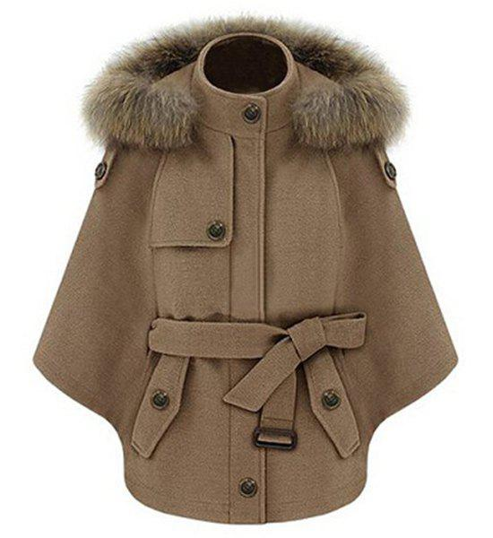Chic Solid Color Convertible Faux Fur Hooded Thick Belted Wool Cloak Cape For Women - CAMEL S