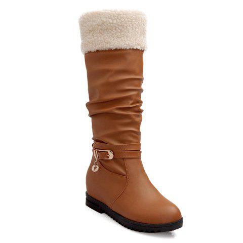 Trendy Buckle and Splicing Design Boots For Women - BROWN 35