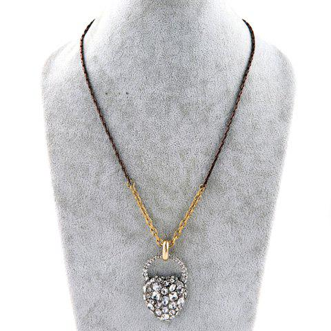 Chic Rhinestoned Faux Crystal Heart Shape Necklace For Women - SILVER