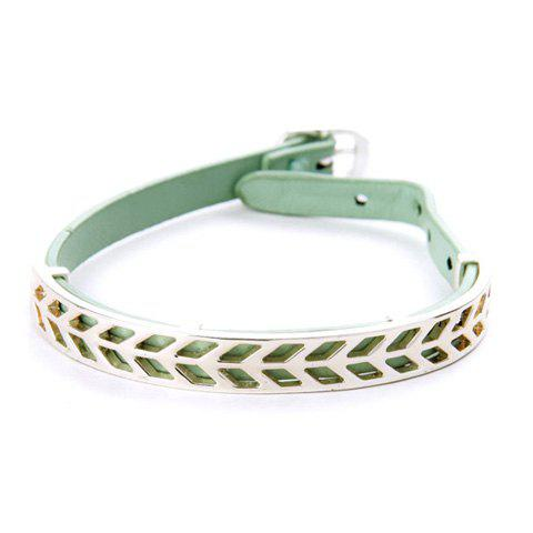 Chic Faux Leather Leaf Hollow Out Bracelet For Women - LIGHT GREEN
