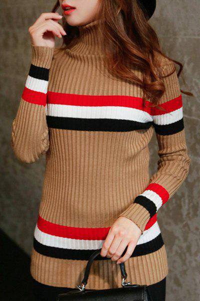 Elegant Women's Turtleneck Long Sleeve Striped Sweater - LIGHT KHAKI ONE SIZE(FIT SIZE XS TO M)