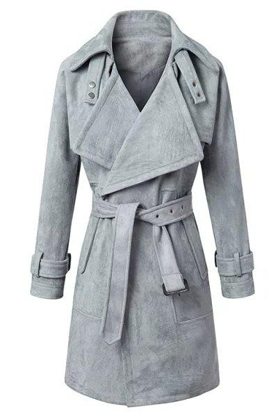 Fashionable Solid Color Turn-Down Collar Belted Thick Velvet Trench Coat For Women - GRAY S