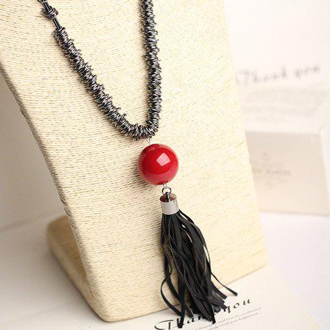 Classic Round Ball Tassel Sweater Chain For Women - RED