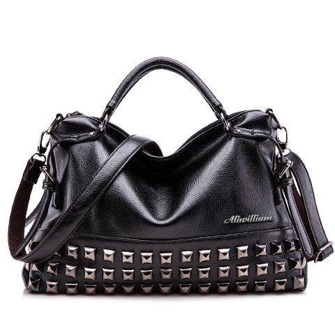 Trendy Buckles and Rivet Design Tote Bag For Women - BLACK
