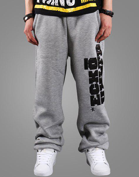 Street Style Beam Feet Letters Embroidered Patch Loose Fit Men's Lace-Up Thin Sweatpants - GRAY XL