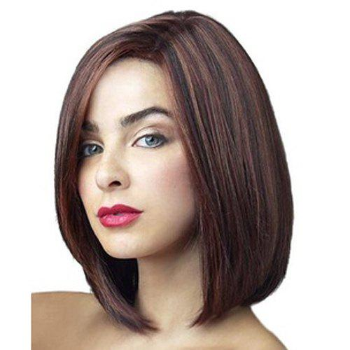 Bob Style Fashion Medium Deep Brown Mixed Heat Resistant Fiber Stunning Straight Wig For Women -  COLORMIX