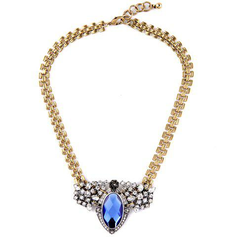 Vintage Rhinestoned Faux Crystal Geometric Necklace For Women - BLUE