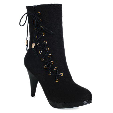 Stylish Metallic and Solid Colour Design Short Boots For Women - BLACK 39
