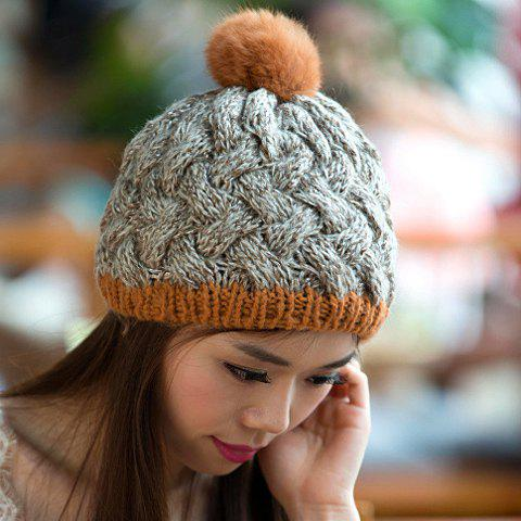 Chic Small Ball Embellished Weaving Women's Knitted Beanie - LIGHT GRAY