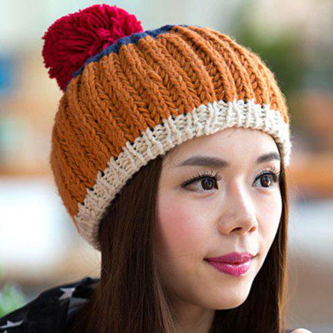 Chic Woolen Yarn Ball Embellished Three Color Matching Women's Knitted Beanie - BROWN