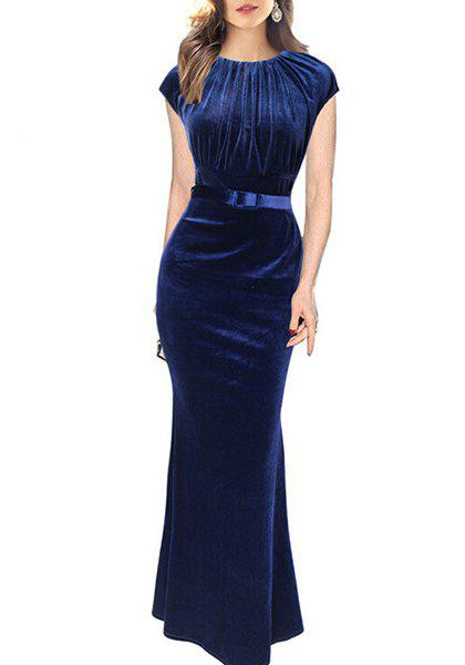 Stylish Women's Jewel Neck Short Sleeve Ruched Mermaid Dress - SAPPHIRE BLUE XL
