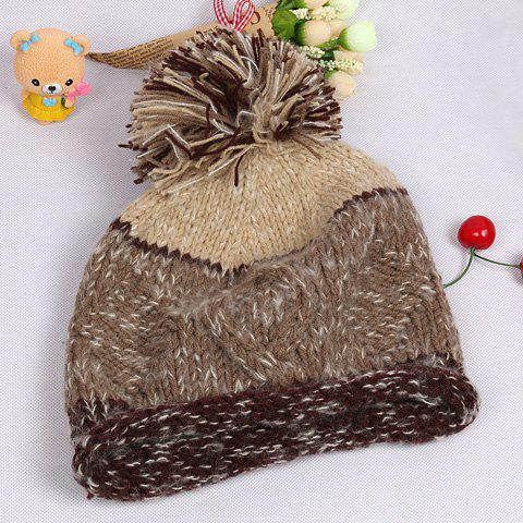 Chic Woolen Yarn Ball and Edge Curl Embellished Women's Knitted Beanie - LIGHT BROWN