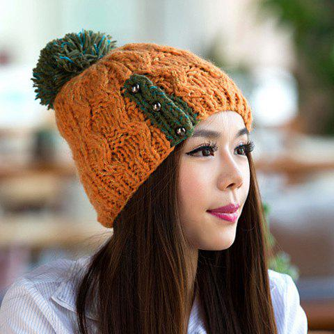 Chic Woolen Yarn Ball and Bead Embellished Women's Knitted Beanie