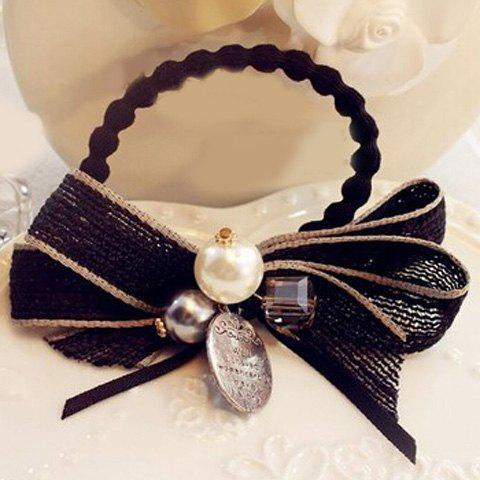 Delicate Faux Pearl Two-Layered Bowknot Elastic Hair Band For Women - BLACK