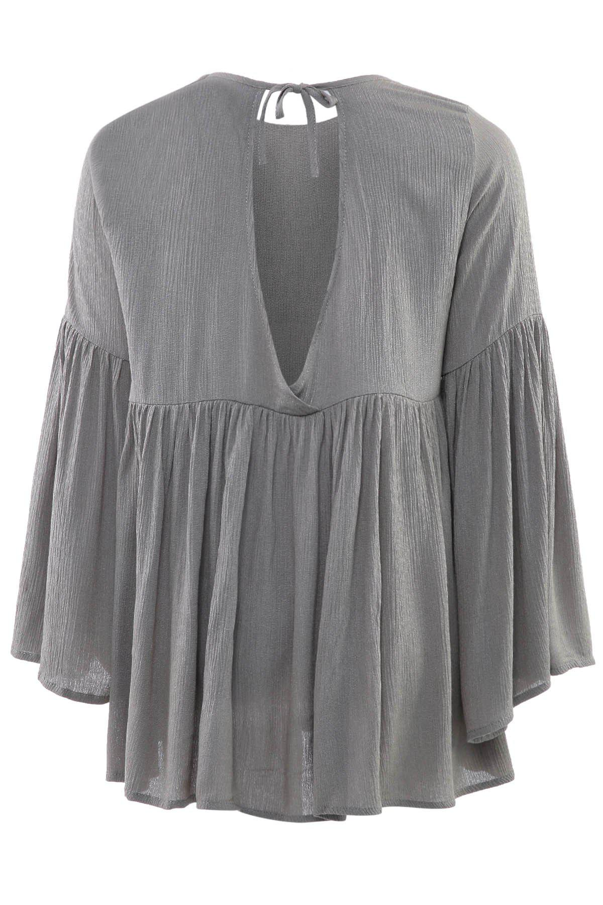 Fashionable Jewel Neck Ruffle Backless Long Sleeve Blouse For Women - AS THE PICTURE L