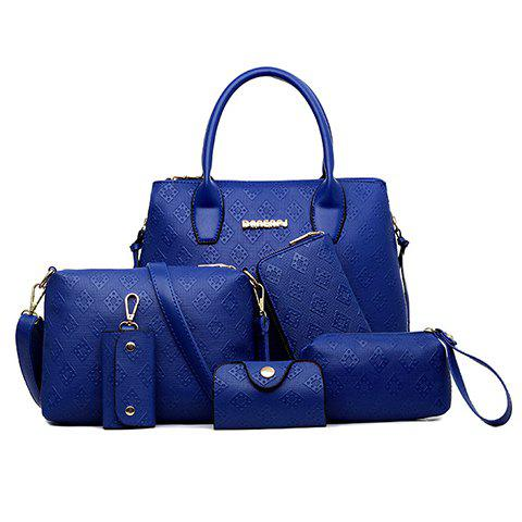Graceful Pure Color and Embossing Design Tote Bag For Women - BLUE