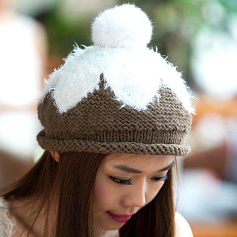 Chic Small Ball and Faux Fur Embellished Women's Knitted Beret - DEEP GRAY
