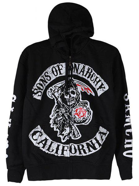 Hip-Hop Drawstring Hooded Letters Skulls Print Front Pocket Long Sleeves Men's Thicken Hoodie - BLACK M