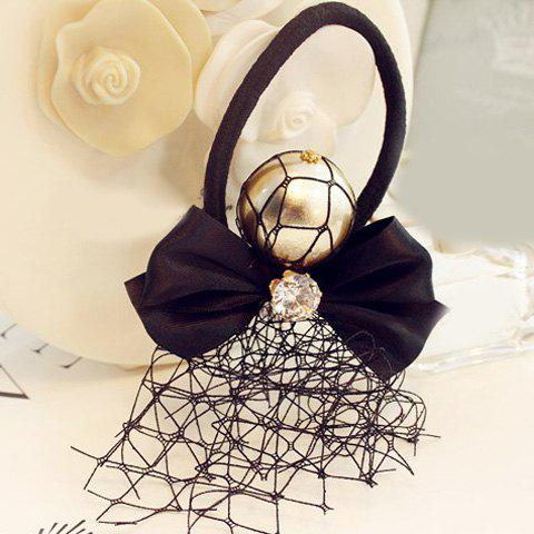 Elegant Rhinestone Bowknot Elastic Hair Band For Women - BLACK