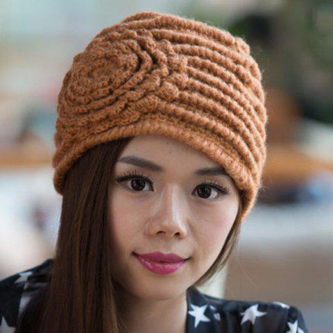 Chic Solid Color Big Flower Shape Women's Knitted Beanie - BROWN