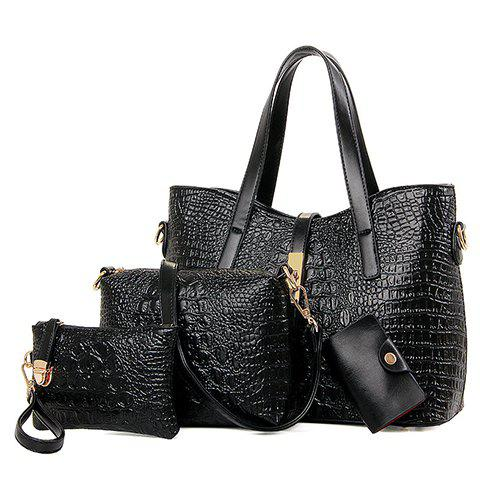Stylish Crocodile Print and Embossing Design Tote Bag For Women - BLACK