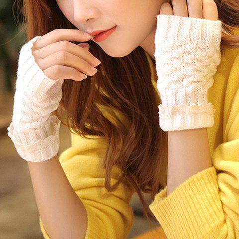 Pair of Chic Lace Edge and Lattice Embellished Knitted Fingerless Gloves For Women - WHITE