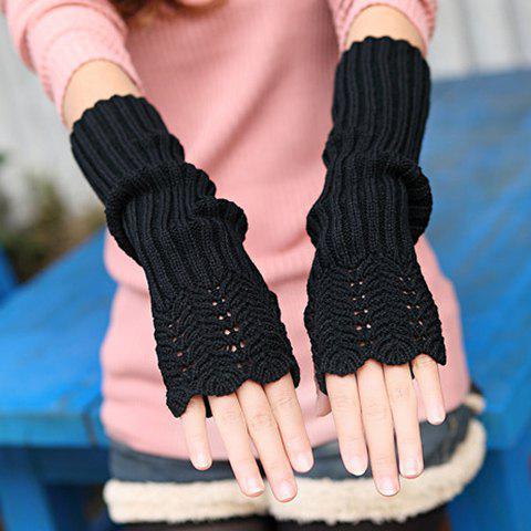 Pair of Chic Hollow Out Crocheting Brim Knitted Fingerless Gloves For Women - BLACK