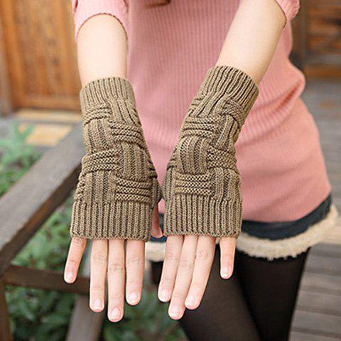 Pair of Chic Short Stripe Shape Knitted Fingerless Gloves For Women - KHAKI