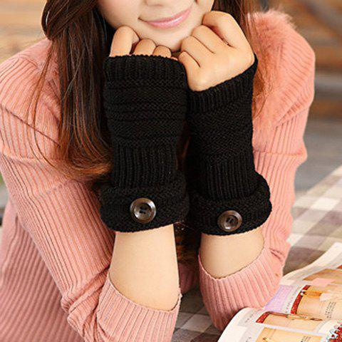 Pair of Chic Button and Stripy Embellished Knitted Fingerless Gloves For Women -  BLACK