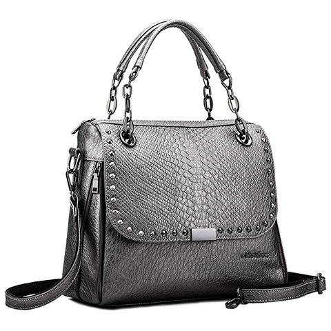 Retro Rivet and Embossing Design Tote Bag For Women - SILVER GRAY