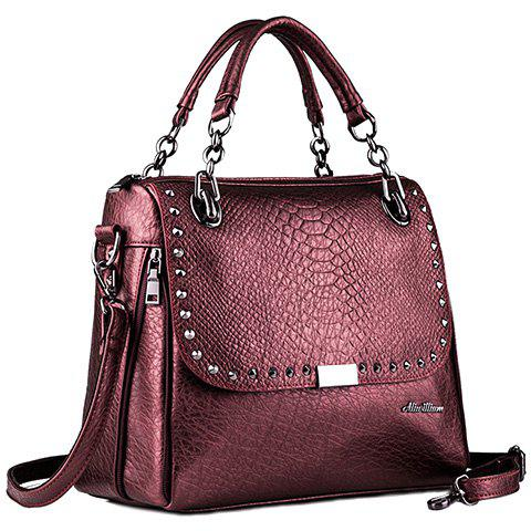 Retro Rivet and Embossing Design Tote Bag For Women - WINE RED