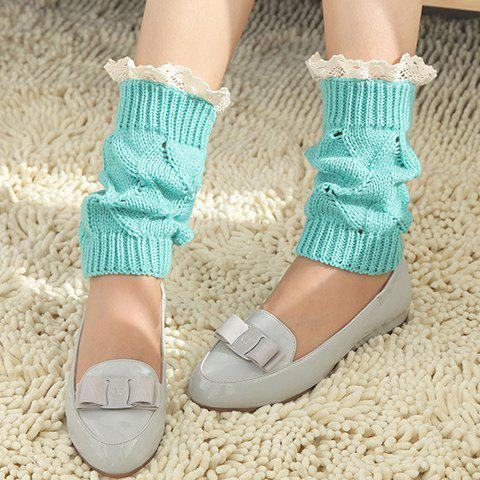 Pair of Chic Lace Brim Hollow Out Knitted Boot Cuffs For Women - BLUE