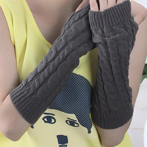 Chic Solid Color Hemp Flowers Knitted Long Fingerless Gloves For Women - DEEP GRAY