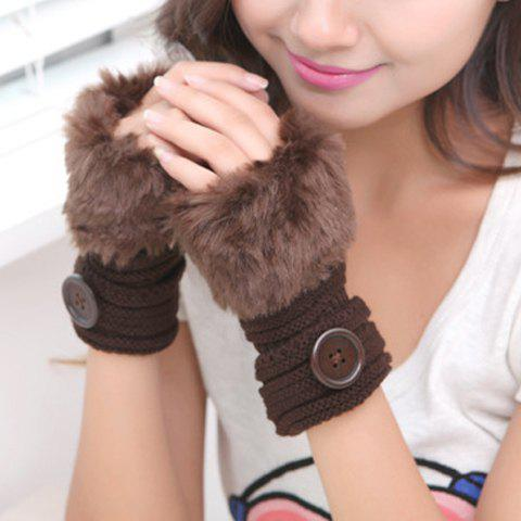 Pair of Chic Faux Fur Button Stripy Embellished Women's Knitted Fingerless Gloves - COFFEE