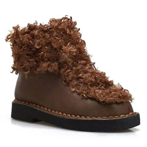 Stylish Zip and Faux Fur Design Short Boots For Women - BROWN 36