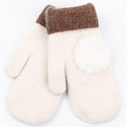 Pair of Chic Small Pompon Embellished Winter Gloves For Women - WHITE