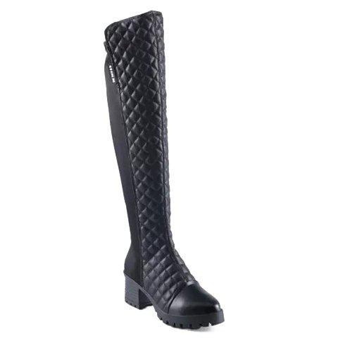 Stylish Plaid and Splicing Design Thigh Boots For Women - BLACK 37