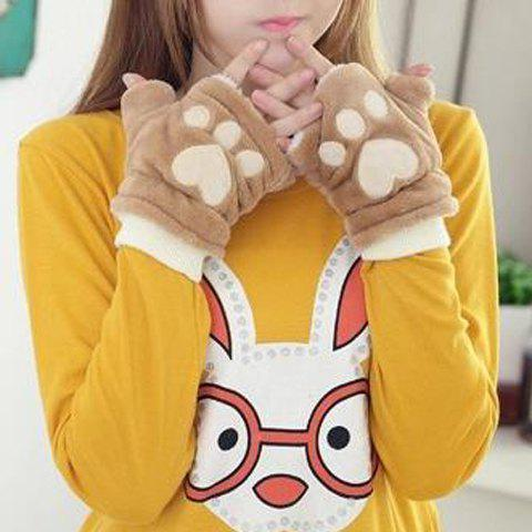 Pair of Chic Bear Paw Shape Embellished Downy Fingerless Gloves For Women - KHAKI