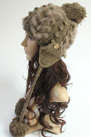 Chic Small Ball Pendant Button Faux Fur Embellished Knitted Beanie For Women