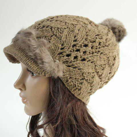 Chic Faux Fur Embellished Hollow Out Knitted Beanie For Women - LIGHT COFFEE