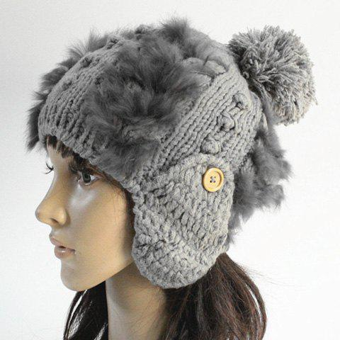 Chic Button and Faux Fur Embellished Knitted Beanie For Women - GRAY