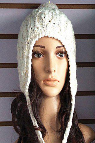 Chic Small Woolen Yarn Ball Pendant Embellished Knitted Beanie For Women - WHITE