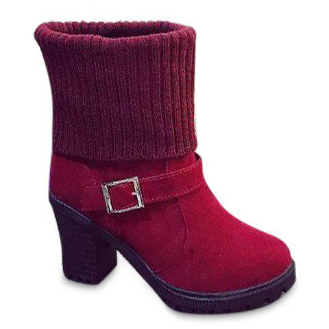 Laconic Buckle and Chunky Heel Design Short Boots For Women