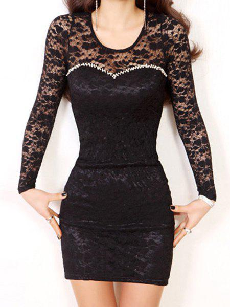 Sexy Women's Scoop Neck Long Sleeve Lace Bodycon Dress - BLACK L