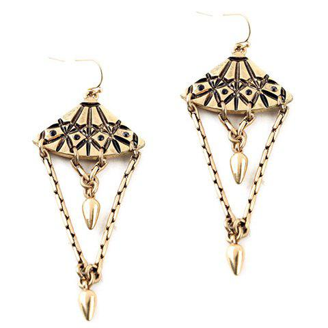 Pair of Chic Fan Shape Hollow Out Layered Geometric Earrings For Women faddish hollow out geometric shape hairgrip for women