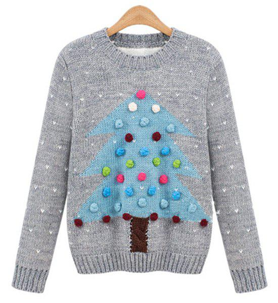Fashionable Women's Round Neck Long Sleeves Christmas Sweater - GRAY 2XL