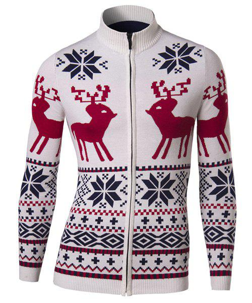 Slimming Stand Collar Christmas Deer Snowflake Jacquard Men's Long Sleeves Cardigan - OFF WHITE 2XL