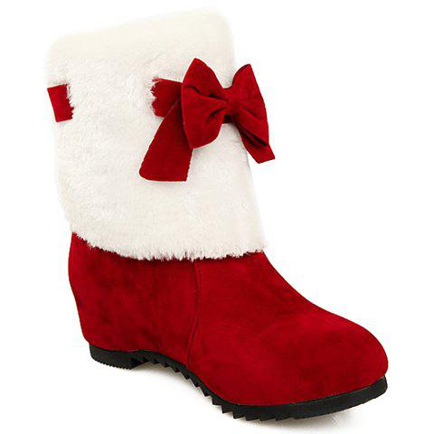 Sweet Bow and Hidden Wedge Design Short Boots For Women - RED 39